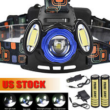 15000LM 3x Cree T6 Rechargeable Headlamp HeadLight Torch USB Lamp+ 18650&Charger