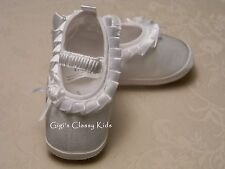New Baby Girls White Christening Baptism Dedication Booties Dress Shoes  0 1 2 R