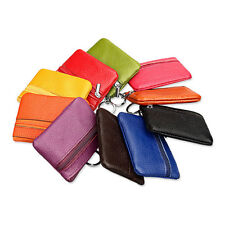 Genuine Leather with Zip Coin Purse Mini Wallet Card Lady pouch With Key Chain