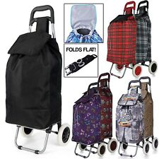 Large Capacity Light Weight Wheeled Shopping Trolley Push Cart Bag wheels HT