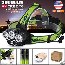 30000 Lumens 5x Cree T6 LED Headlamp USB Rechargeable 18650 Headlight Head Lamp