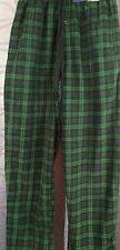 Mens Stafford S micro fleece green & navy pajama pant w/ pockets 100% polyester