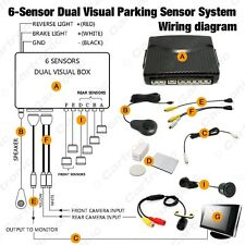 Car 6 Sensors/16.5mm Camera Front&Rear Dual View Parking Sensor Backup Radar Kit