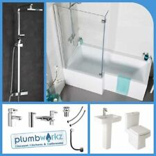 L Shaped Bathroom Suite 1700mm Bath Basin Toilet Taps & Shower