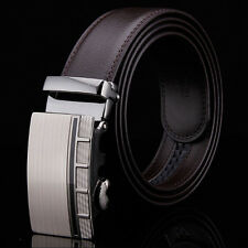Simple Mens Quality Genuine Leather Business Dress Belt Auto Lock Buckle
