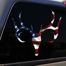 American Flag Buck Deer Skull Antlers Decal Sticker Graphic for Truck Car SUV