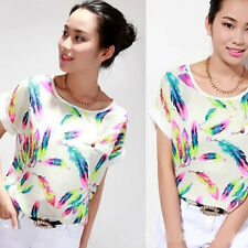 Women Blouse Summer Feather Chiffon Blouse Short Sleeve Loose T-Shirt Tops Shirt