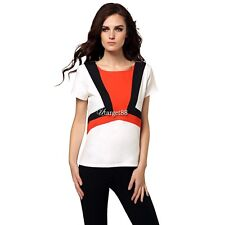 Stylish Ladies Women Casual Short Sleeve Patchwork Top Blouse UTAR