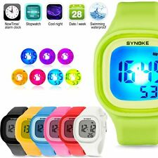 Boys&Girls Waterproof Watch LED Digital Sports Watch Silicone Square Wristwatch