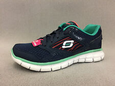 New 12502 Womens Skechers Running Shoes, Navy/Turquoise