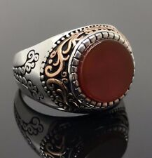 925 Sterling Silver w/ filigree Red AGATE Aqeeq Men's Ring -USA Seller 1K4H