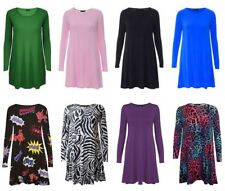 New Womens Ladies Long Sleeve Plain Swing Flared Floaty Top Dress Plus Size swng
