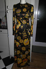 VINTAGE 60S GROOVY BLACK ORANGE PSYCHEDELIC FLOWER DOLLY HIPPY MAXI DRESS  UK 10