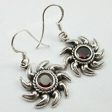 925 SOLID Silver RED CUT GARNET Earrings 3.4 CM MADE IN INDIA Industrial Jewelry