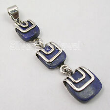 925 Solid Silver Collectible LAPIS LAZULI LONG Pendant 5 CM BIJOUX FREE SHIPPING