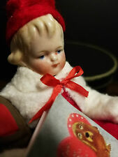 paper mache snowball candy container, antique German head doll, valentines