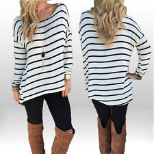 Womens Striped Print Leisure Blouse Shirt LongSleeve Asymmetrical Causual Tops