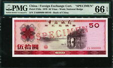 China ( Foreign Exchange Certificates )  1979, 50Yuan,Specimen, FX6s,PMG 66 EPQ