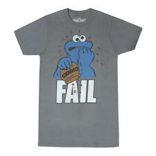 Sesame Street Cookie Monster Cookie Fail Men's Grey T-shirt New Sizes S-2XL