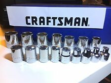 "CRAFTSMAN 3/8"" DRIVE  SHALLOW SOCKET SET SAE OR METRIC 6 /12 PT  CHOOSE SETS"
