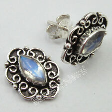 925 Silver RAINBOW MOONSTONE OXIDIZED STUD POSTS Earrings 1.5 CM FREE SHIPPING