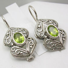 925 Solid Silver GENUINE GREEN PERIDOT ANCIENT STYLE Hook Earrings 1 1/8 inches