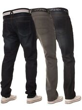 New Mens ENZO Straight Fit Blue Denim Jeans Distressed Pants All Waist Sizes