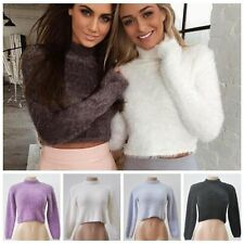 Women Fall Winter Knitted Plush Crop Long Sleeve Sweaters Pullover Tops Blouse