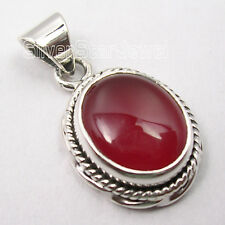 925 Solid Silver CABOCHON OVAL RED CARNELIAN GEM TRADITIONAL Pendant 2.4 CM NEW