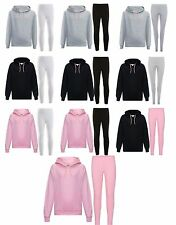 Girls Plain Hoodie & Legging Set Kids 2 Piece Jogger Outfit Set New 5-12 Years