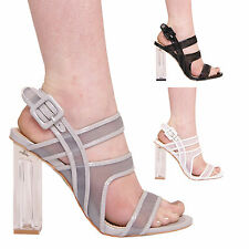 LADIES WOMENS HIGH HEEL STRAPPY SUMMER SANDALS PERSPEX HEEL BUCKLE FASHION SHOES