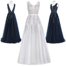 Deep V-BACK Tulle Netting Ball Gown Evening Prom Party Cocktail Formal Dress NEW