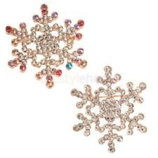 Women's CHRISTMAS SNOWFLAKE Rhinestone Wedding Party Brooch Pin Collar Brooch