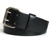 Mens Black Bridle Leather Belt 2 Prong Buckle Double Hole Belt Handmade in USA