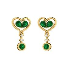 1.12 ct Green Emerald & White Sapphire Solid Gold Heart Dangle Earrings