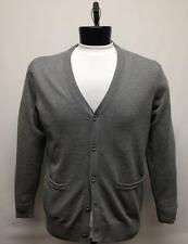 Bassiri Men's Solid Grey 100% Cotton Button Front Cardigan Sweater Style # 221