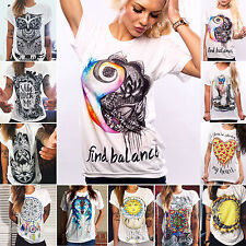 Ladies Womens Punk Grunge Pattern Casual T-shirts Short Sleeve Tops Blouses New