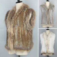 Basic Style 100% Rabbit Fur Knitted Vest Stripe Women Winter Warm Fur Vest Coat