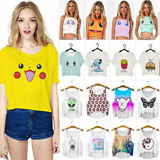 Fashion Women's Pokemon Tank Crop Top T-shirts Vest Sleeveless Tee Blouse Shirts