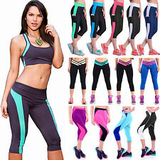Womens High Waist Stretch Yoga Running Leggings Sports Exercise Cropped Pants