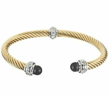 QVC Twisted Rope Cuff Bangle Bracelet 14K Yellow Gold Clad Stainless Steel
