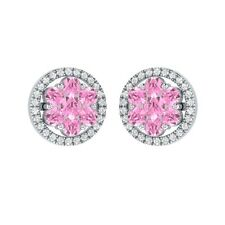 1.34ct Round Light Pink & White Sapphire Solid Gold Cluster Flower Stud Earrings
