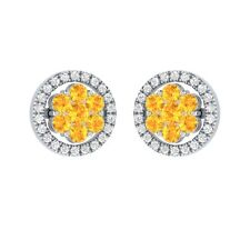 0.76 ct Round Cut White Sapphire Solid Gold Cluster Flower Stud Earrings