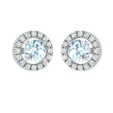 0.66 ct Round Aquamarine & Sapphire Solid Gold Stud Earrings For Womens