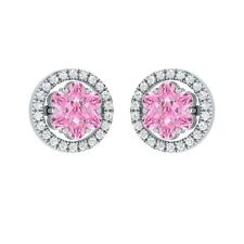 0.76ct Round Light Pink & White Sapphire Solid Gold Cluster Flower Stud Earrings