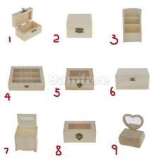 DIY Unfinished Plain Wooden Jewelry Box Case Gift Handmade Unpainted Wood Craft