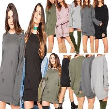New Ladies Womens DISTRESSED Baggy RIPPED LongLine Sweatshirt Jumper Dress TOP