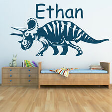 Personalised Name Wall Sticker Triceratops Dinosaur Wall Decal Kids Home Decor