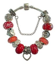 Silver & Red European Charm Beads Bracelet Christmas Birthday Mothers Day Gift