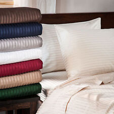 """400-Thread-Count 8"""" Extra Deep Pocket 1PC Soft Fitted Sheet Striped 100% Cotton."""